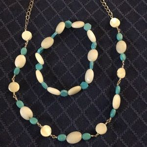 Jewelry - White and aqua necklace and bracelet